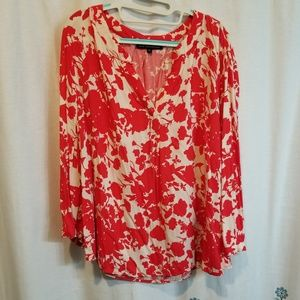 Red and white floral flowy shirt
